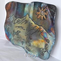 RAKU Art Pottery Sculpture Wall Hanging Native American Primitive Scene Horse