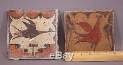 RARE! Antique Western American Indian Zia Pueblo Bird Painting Pottery Tile NR
