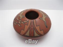RARE Flora Naranjo Santa Clara Pueblo Polychrome Redware Vase / Bowl w Deer