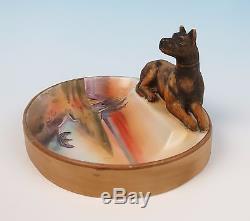 RARE Nippon Dog withNative American Indian Scene Figural Porcelain Ashtray Figural