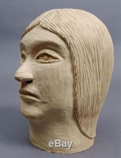 RARE! RANKIN INLET CERAMIC POTTERY Human Head Inuit Eskimo Sculpture Signed 1977