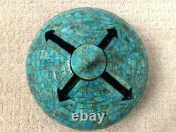 Randy Miller Native American/Cherokee turquoise inlaid lidded pottery jar