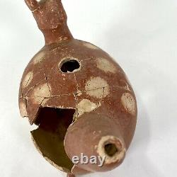 Rare Antique Large Native American Fawn Deer Effigy Water Pot Quapaw Arkansas