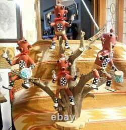 Rare Awesom Native American Hopi Pottery & Wood 4 Mudhead Kachina Tree A R Smith