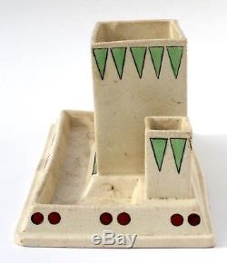 Rare Early Roseville Creamware Pottery Smoker Set with Native American Indian