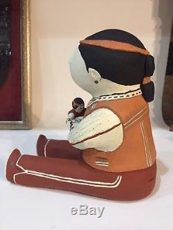 Rare Male Native American Cochitti Story Teller Pottery Blanket Boy