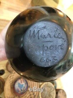 Rare Maria Martinez & Popovi Da 1966 Blackware Feather Motif Indian Pottery