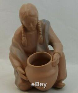 Rare Van Briggle Indian Native American Woman with Pot Basket Mauve Signed DR
