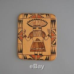 Rare Vtg Hopi Indian Pottery Tile Kachina Sylvia Poleyestewa (Poley)