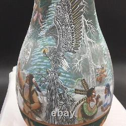 Richard Underbaggage 16.25 Yard Vase Hand Painted Native American Sioux Pottery