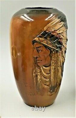 Rick Wisecarver Hnd Ptd Vase-native American Profile Little Dog Sgnd-dated'84
