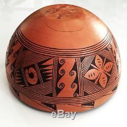 Rodina Huma 9 Dia Bowl Signed Hopi Pueblo Tribe Arizona Native American Pottery
