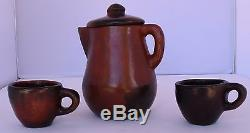 Rose Williams Native American, Navajo master, pottery tea kettle 2 cups mugs