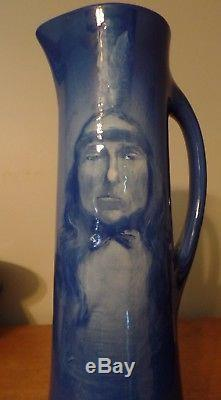 Roseville Rare Azurean Native American Portrait Tankard A. Dunleavy 13-1/2