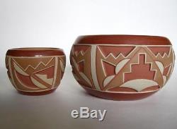 Rosita De Herrera San Juan NM Native American Geometric Incised Art Pottery Pot