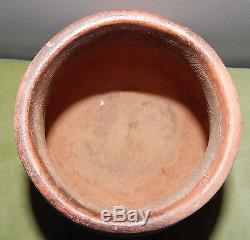 Santa Clara Pueblo Red Orange Clay Pottery Painted & Signed Serafina Tafoya