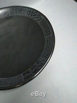 San Ildefonso Black-On-Black Pottery Fruit Bowl Native American Maria Martinez