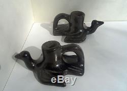 San Ildefonso Black Pottery Bird Candlesticks Maria & Julian Martinez c. 1920's