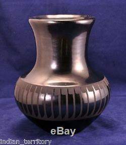 San Ildefonso Black and Gunmetal Feather Jar by Marie & Santana c. 1943-1956