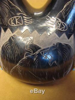 Santa Clara Indian Pottery Clay Wedding Vase by Norman Red Star! Hand Coiled