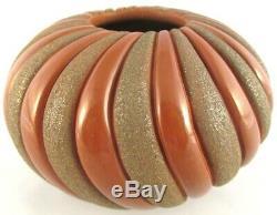 Santa Clara Pottery, Red & Tan Mica 6.25 SWIRL RIBS BOWL, Linda Tafoya Sanchez