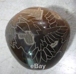Santa Clara Pottery small seed vase Sgraffito by Eric Tafoya Whirling log symbol