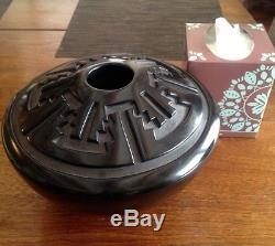 Santa Clara Pueblo Carved Black & Black Large Pot by Ernest & Marian Naranjo 70s
