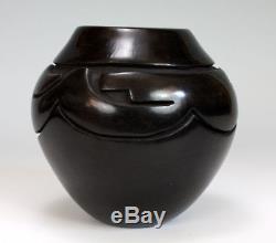 Santa Clara Pueblo Indian Pottery Carved Avanyu Vase #2 Mida Tafoya