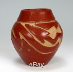 Santa Clara Pueblo Indian Pottery Carved Avanyu Vase Stella Chavarria