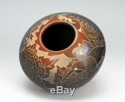 Santa Clara Pueblo Indian Pottery Sgraffito Hummingbird Jar #2 Gwen Tafoya
