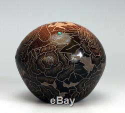 Santa Clara Pueblo Indian Pottery Sgraffito Seed Pot Gwen Tafoya