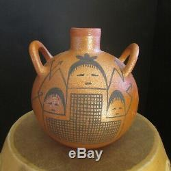 Santa Clara Pueblo Micaceous Pottery Canteen by Native American Lee Moquino