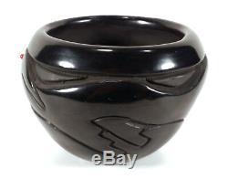 Santa Clara Pueblo Native American Blackware Pottery Vase Marlin Hemlock Tafoya