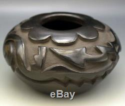 Santa Clara Pueblo Native American Gwen Tafoya Black Water Serpent Bowl Coa