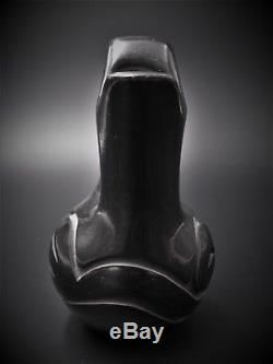 Santa Clara Pueblo Signed Black Wedding Vase Pottery Ethel Virgil Native America
