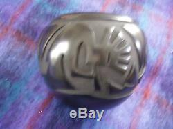 Santa Clara olla by Rose M. Lewis kokopelli black pottery 6.5 diameter