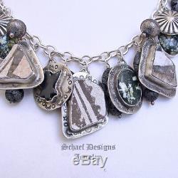 Schaef Design Anasazi Pottery Shard New Lander Turquoise Charm Bracelet Necklace