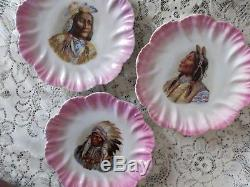 Set of 3 VICTORIAN NATIVE AMERICAN INIDAN PORTRAIT PLATES Antique Porcelain