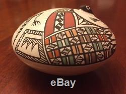 Sharon and Bernard Lewis Acoma Pueblo Hand-Made Signed Pottery Seed Jar Vase