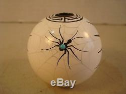 Signed J. GACHUPIN JEMEZ N. M. Native American Pottery Seed Pot Turquoise Spider