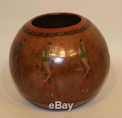 Signed Lorraine Williams Native American Navajo Pottery Bowl Pot with Yei Dancers