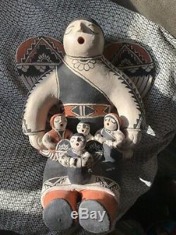 Signed Louis & Virginia Naranjo Cochiti NM Pottery Storyteller Angel 8.5 Effigy
