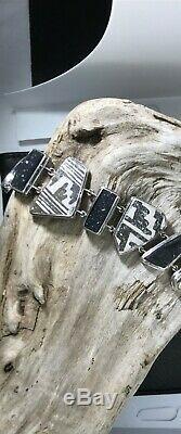 Signed Sterling Bracelet & Pendant Set Ancient Pottery Shards & Black Druzy