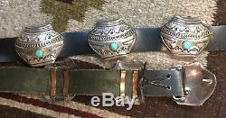 Signed Vintage Navajo Turquoise Sterling Silver Pottery Concho Belt & Earrings