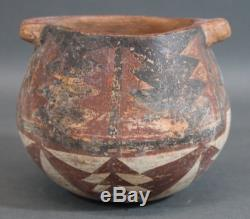 Small Antique American Indian Handmade Painted Redware Pottery Bowl, NR