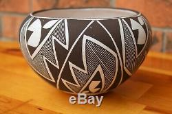 Southwest Native American Acoma Pueblo Pottery Hand Coiled And Painted Signed