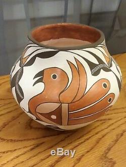 Southwest Native American Acoma Pueblo Pottery Parrot pot signed M. S. Juanico