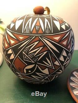 Southwest Native American Acoma Pueblo Pottery Seed Pot Round Vessel Bonus