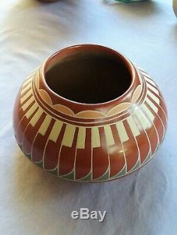 Southwest Native American Santa Clare Pueblo Redware Pot Signed Belen Tapia