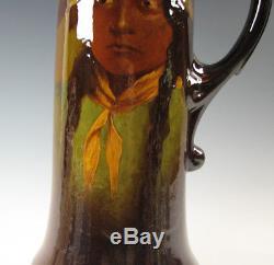 Standard Glaze Roseville Rozane Art Pottery Portrait Native American Indian